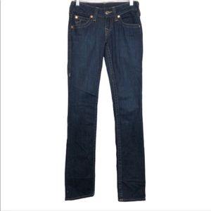 True Religion Straight Leg Denim Jeans Dark Wash